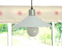 retro style kitchen pendant lighting in bright white