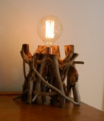 Driftwood Lamp and Copper Lead with Vintage squirrel cage bulb.