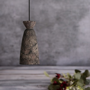 Pando Ceramic Black Clay Tall Pendant Light