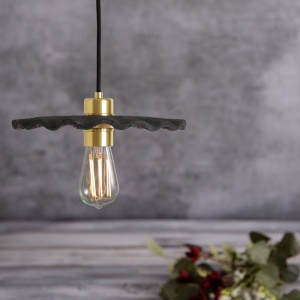 Kapok Black Clay Ceramic Pendant Light