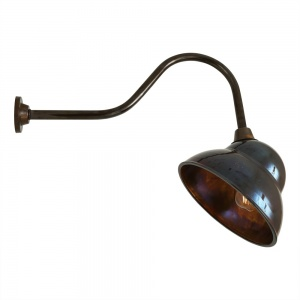Large Outdoor Sign Light in Antique Brass