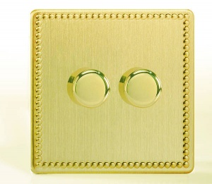 LED Dimmer Switch 120w - Brushed Brass - 1- 4 Gang
