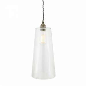 Contemporary Glass Cone Pendant Light in Polished Brass