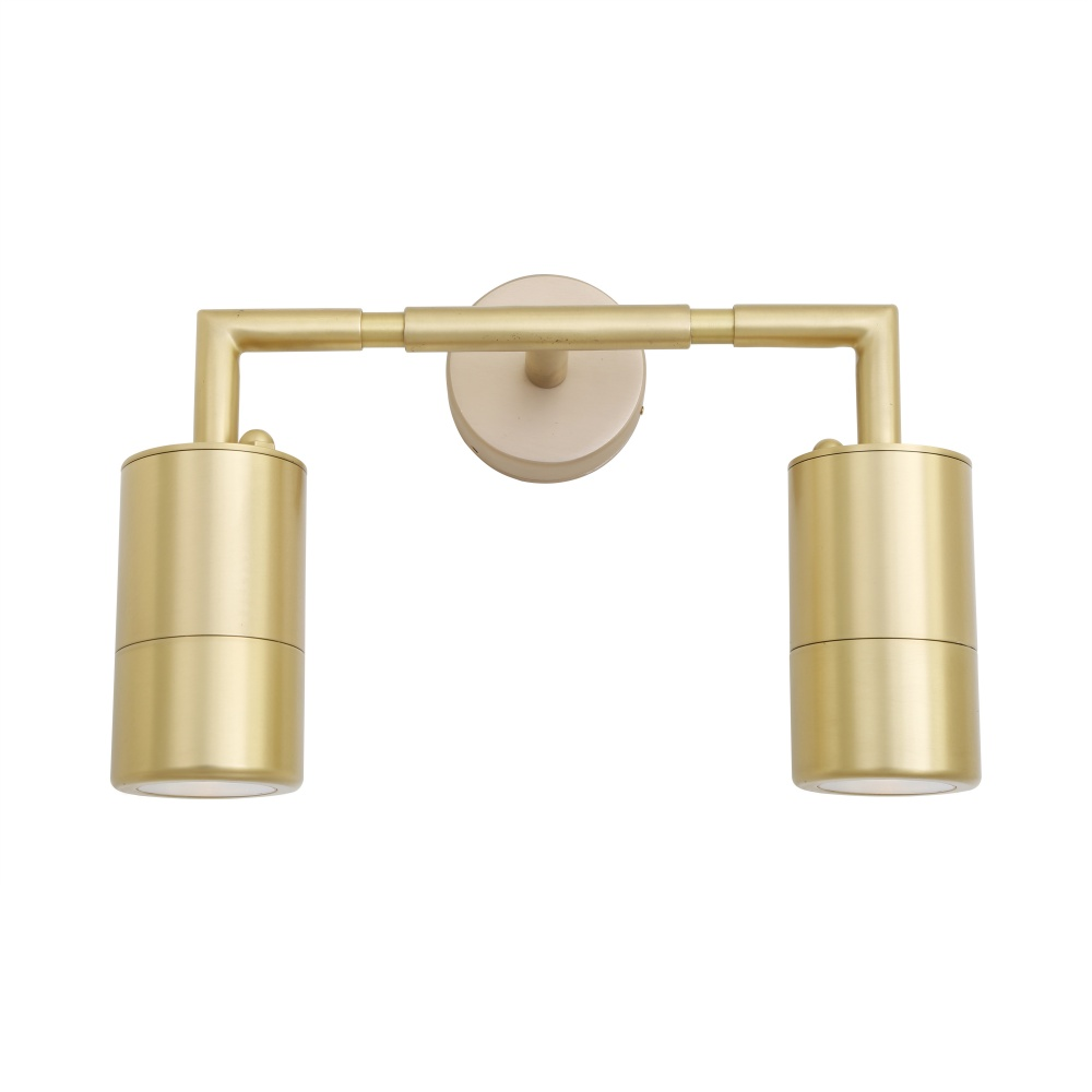 Ennis Double Brass Bathroom Wall Light IP65