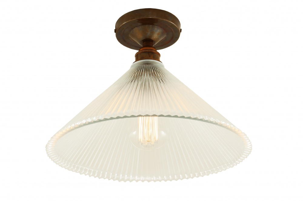 Hanoi Vintage Flush Holophane Ceiling Light