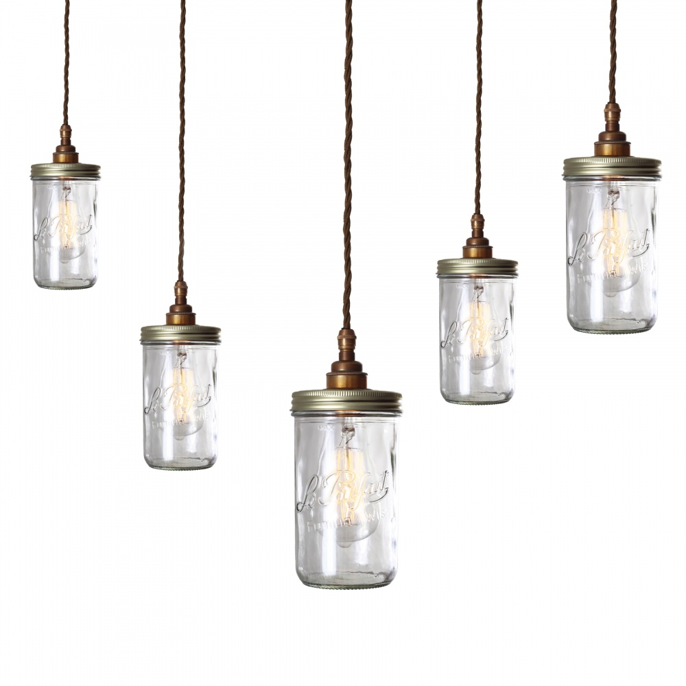 Jam Jar Pendant Light Cluster 5 Jars
