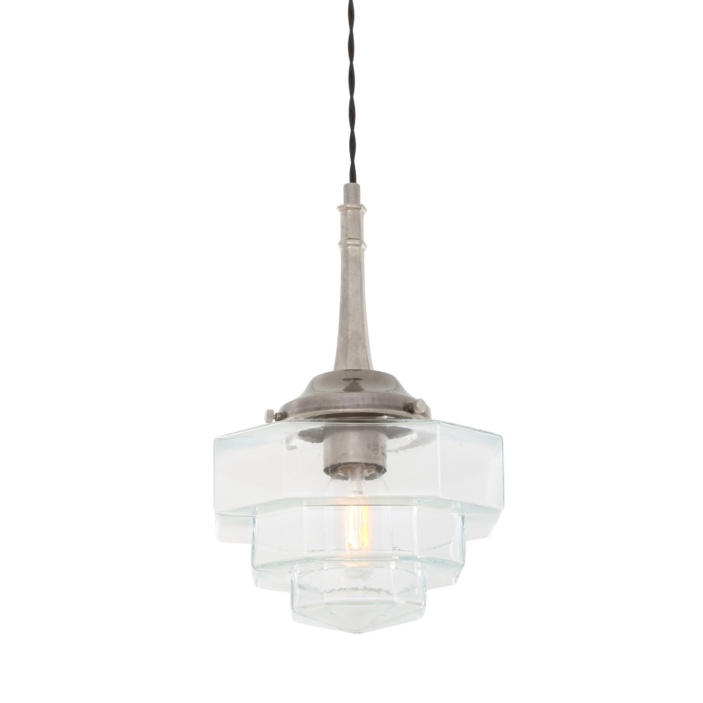 Novato Pendant With Hexagonal Stepped Glass Shade