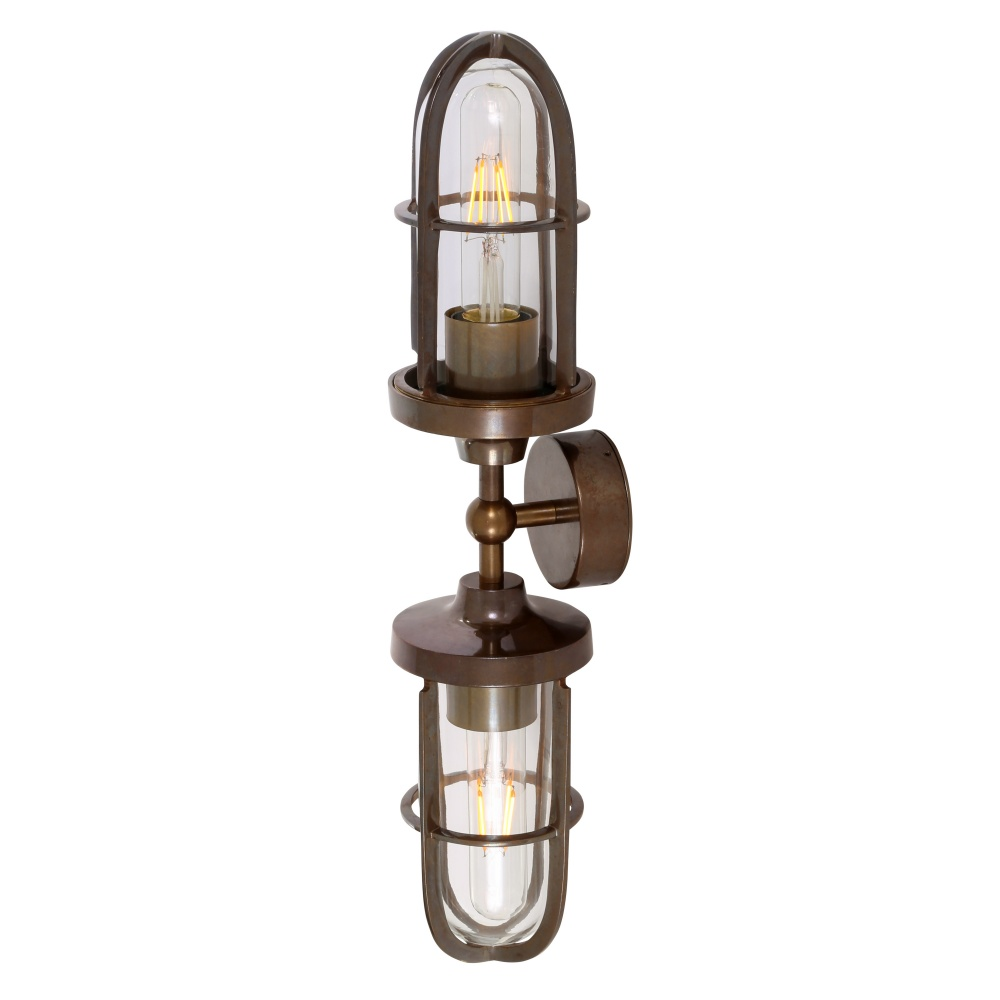 Clayton Double Well Glass Wall Light IP54