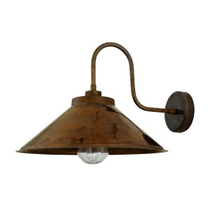 Nerissa Swan Neck Outdoor Brass Wall Light